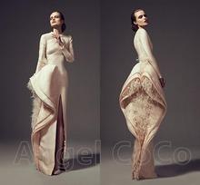 Elegant Ivory Custom Made Arabic Muslim Long Robe robe de soiree Velvet Woman Long Sleeve Dubai Formal Evening Dress Prom Gowns(China (Mainland))