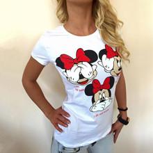 Women mouse T Shirts Short Sleeve Cartoon Tee Anchor Printed Tops Cotton T-Shirts lady tops New bow Print Women T-shirt Plus