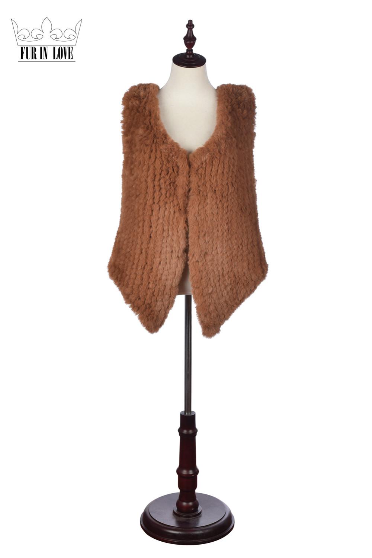 Fashion Faux Rex Rabbit Short Fur Vest Cute Fake Knitted Rabbit Fur Gilet Sleeveless Coats Slim Jackets 4 Colors