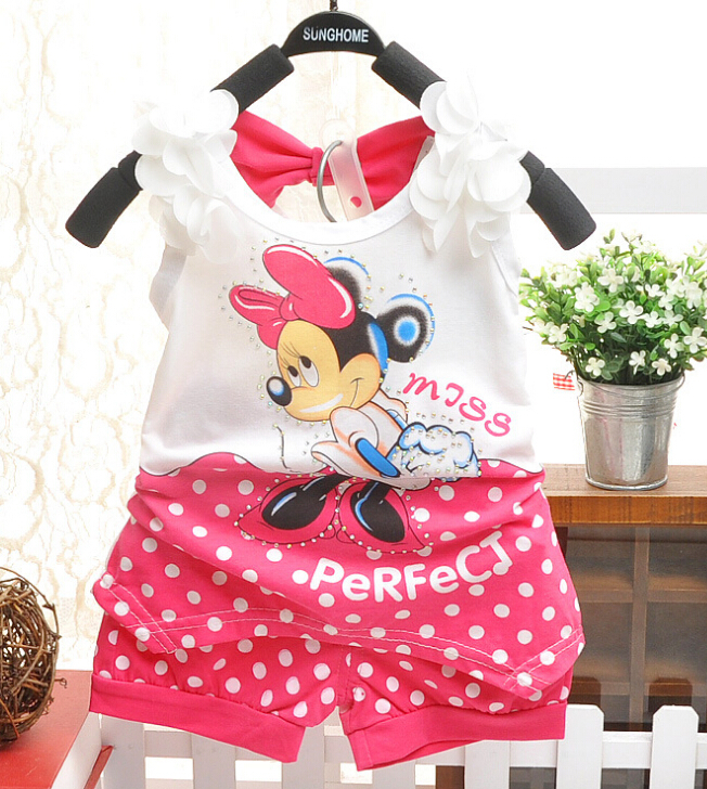 2015children baby girls summer christmas outfit toddler clothing set family tracksuit clothes set minnie mouse Tshirt+short pant(China (Mainland))