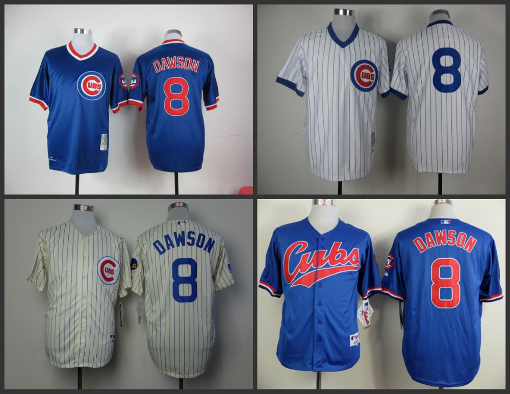 Cheap Mens Chicago Cubs Throwback Jerseys 8 Andre Dawson Baseball Jersey 100% stitched Embroidery logos S-3XL(China (Mainland))