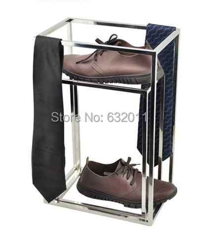 Silvery surface stainless steel box shoes necktie scarves holder showing stand Multi-functional Metal merchandise display rack(China (Mainland))