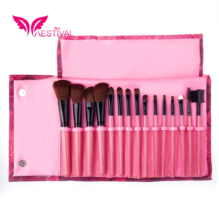 2015 New Arrival , Xaestival Professional 15 Pieces Makeup Brushes Set with Embossed Case Free Shipping(China (Mainland))