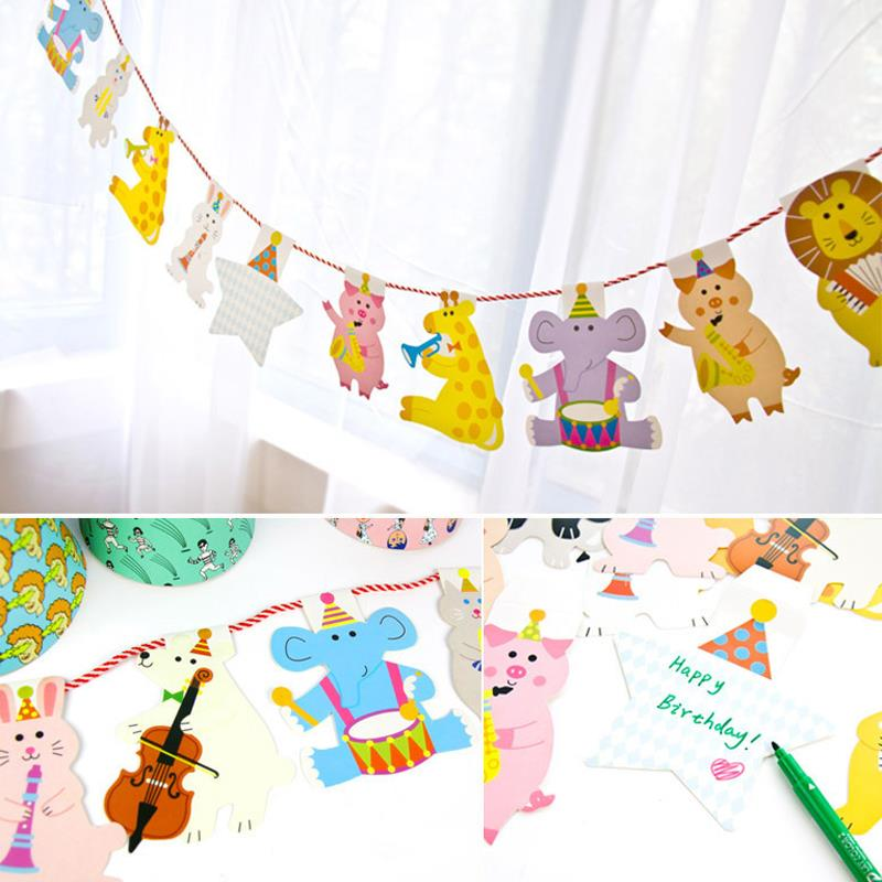 2M Cartoon animal Banners Personality Wedding Bunting Decor Vintage Party Birthday Baby Show Garland Decoration(China (Mainland))