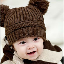 Hot Sale Baby Kids  Dual Ball Knit Sweater Cap Hats Winter Warm Knitted Hat free shipping #  L03090