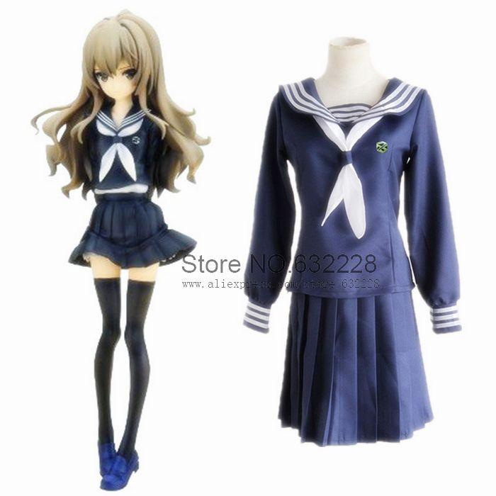 Tora Dora Aisaka Taiga Blue Sailor Uniform Cosplay Costume(China (Mainland))
