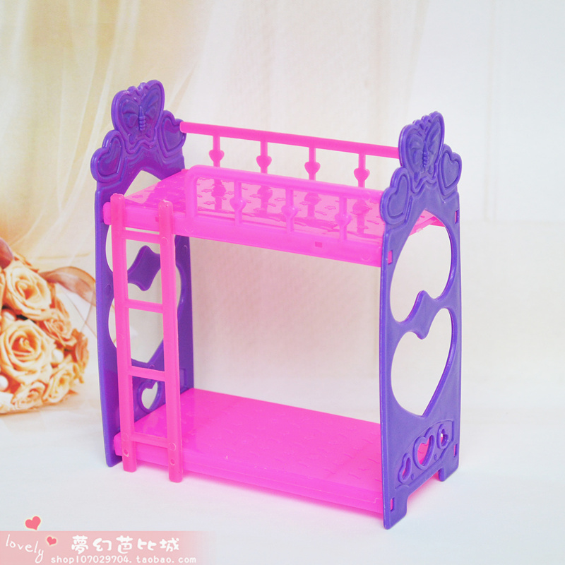 Girl Birthday Gift Plastic General Household Furniture Accessories Bunk Bed DIY Play Toys Fit For Barbie Kelly Doll Mini Ddgir(China (Mainland))