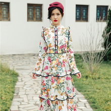 Original Design 2016 New Fall Long Sleeves Cultivate One's Morality Show Thin Dress Woman Floral Print Noble Mermaid Dress(China (Mainland))