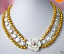 wholesales design 3 row freshwater Gold pearl &White coin pearl necklace lowest fashion jewelry,gift free shipping(China (Mainland))