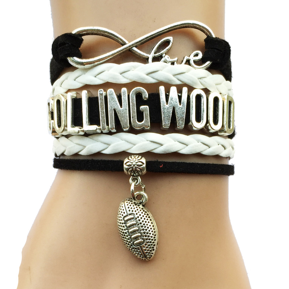 Drop Shipping Infinity Love Colling Wood Charm Bracelet- Australian Football League AFL Sports Team College Club Leather Gift(China (Mainland))