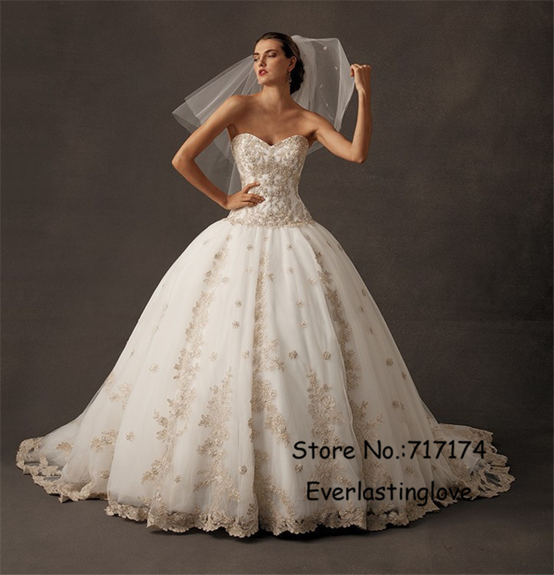 Strapless ball gown champagne lace appliques wedding for Champagne ball gown wedding dresses