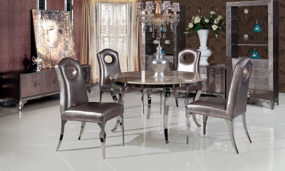 stainless steel marble dinning table with dining room set with 4 chairs 2 leather wine cabinet tv unit leather small cabinet