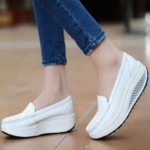 Femmes Plate-Forme de Chaussures Pour Femmes En Cuir Véritable Chaussures Femme Blanc Noir Rose Confort Infirmières Cales Respirant Swing Pompes(China (Mainland))