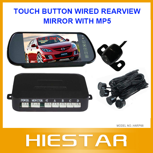 Touch Button Wired Rearview Mirror + Car Camera Parking System with Mp3Mp4Mp5 Digital TFT LCD Two Way Input Free Shipping(Hong Kong)