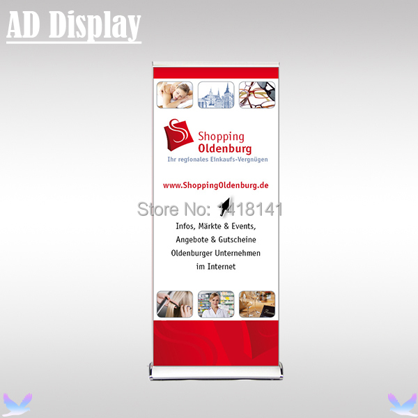 85*200cm 4PCS Luxurious Wide Base Aluminum Roll Up Banner Display Stand,Premium Pull Up Banner,Portable Advertising Equipment(China (Mainland))
