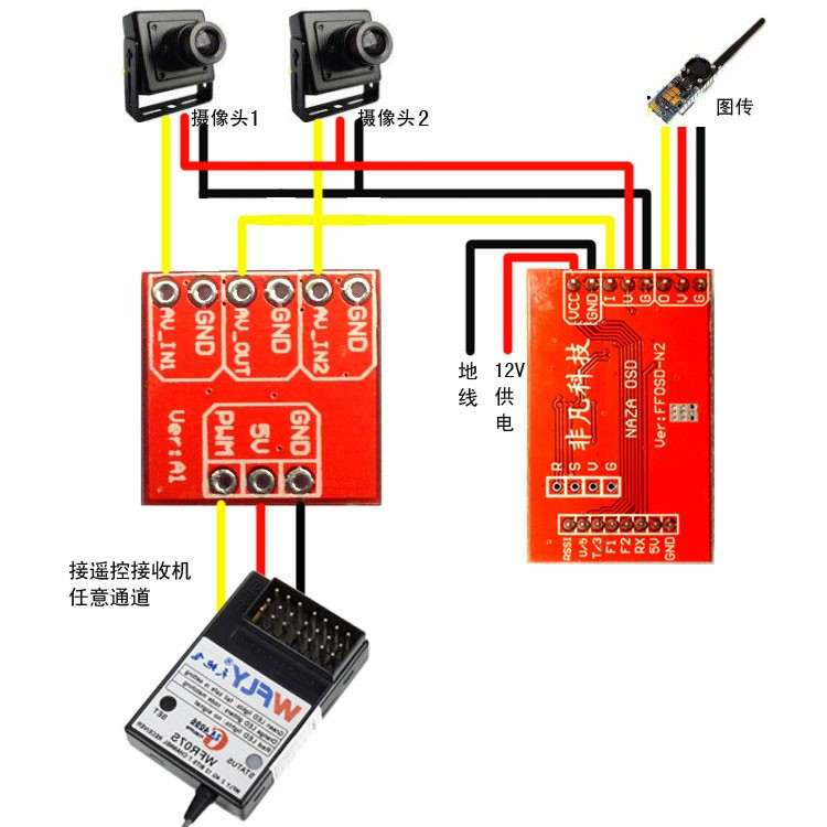 Mini 2 Ways Video Switcher Module 2 Channels Video Switch Unit for FPV RC Helicopter Airplane Multicopter(China (Mainland))