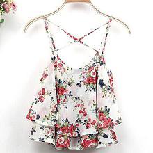 2015 4Colors Women Summer Clothing Spaghetti Strap Floral Print Chiffon Shirt Vest Blouses Crop Top(China (Mainland))