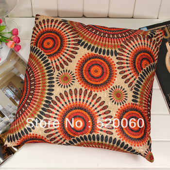 "17"" Vtg Indian Ethnic Style Circle Pattern Soft Square Throw Pillow Cushion Saddle Cover Home Couch Sofa Decor Decoration Orange"