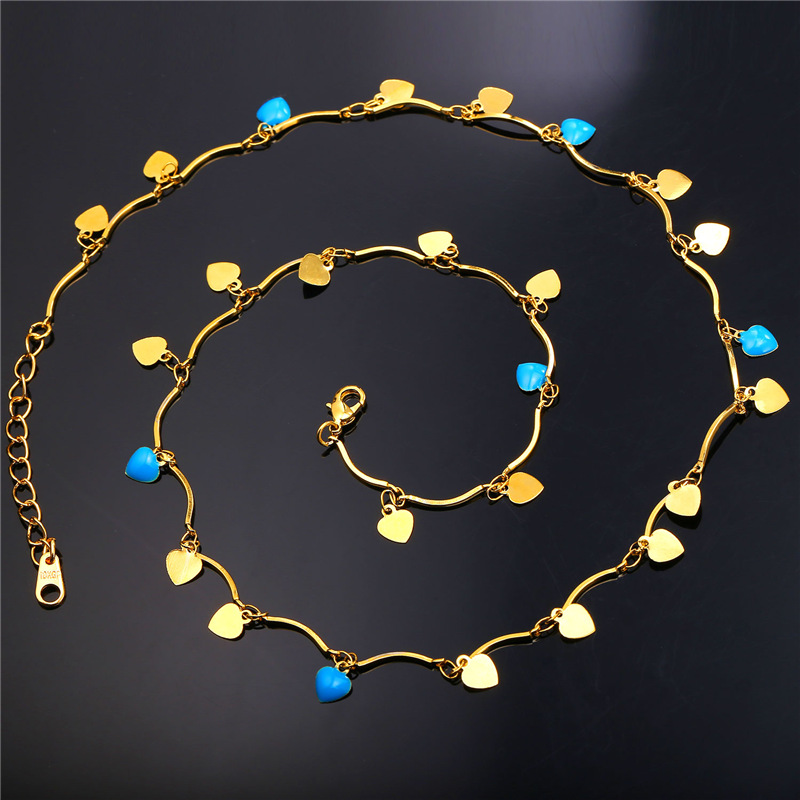 Romantic Colorful Blue Enamel Sky Star Necklace Women Jewelry 18k Real Gold Plated Female Charms Jewelry Bohemia Style YP1950(China (Mainland))
