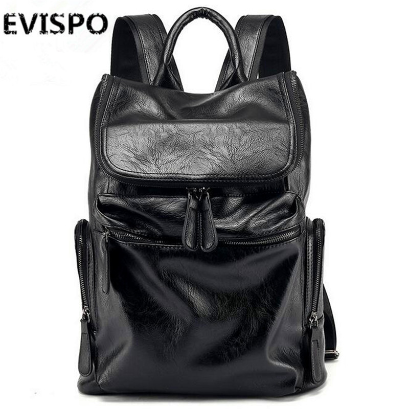 EVISPO High Quality Vintage Unisex 100% Guarantee Real Genuine Leather Backpack Men Women Fashion Designer Brand Travel Bags(China (Mainland))