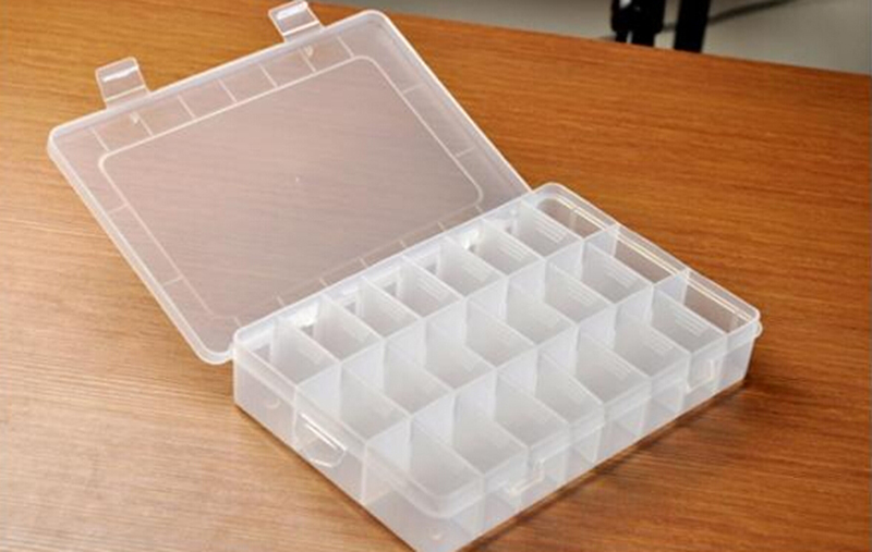 Adjustable 24 Compartment Plastic Storage Box Jewelry Earring Bin