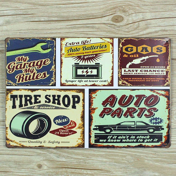 """RB-0322""""MY GARAGE MY RULES,AUTO PARTS,TIRE SHOP """"vintage home decor metal Tin signs metal plaques for bar wall art craft 20X30 C(China (Mainland))"""
