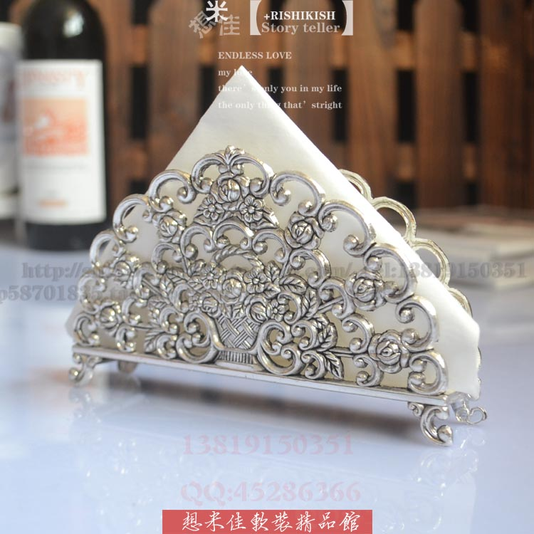 Fashion decorative pattern paper towel holder silver plated metal senior tissue blocks table napkin paper home accessories(China (Mainland))