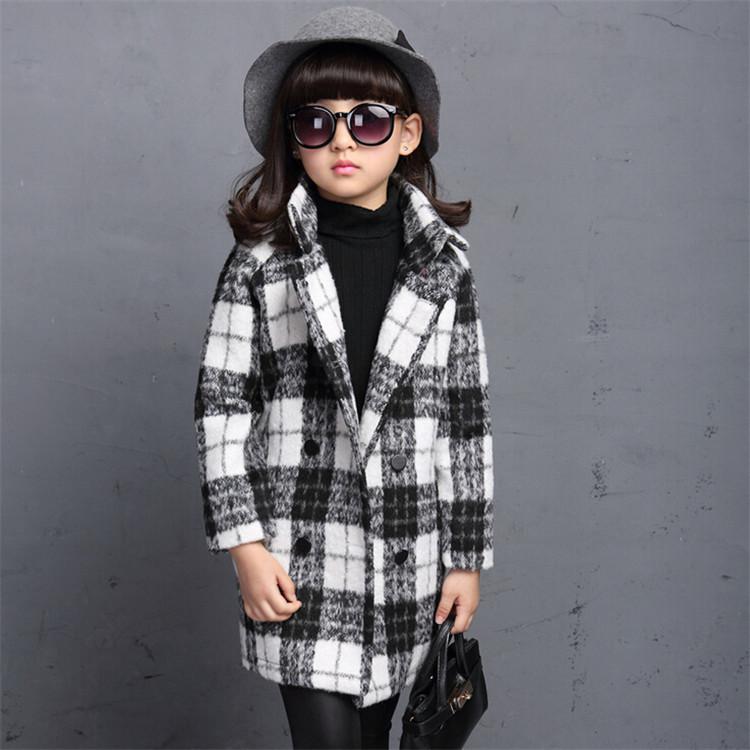 Kids Trench Coat Girls Children Coats 2015 Autumn Spring Long Korean Windbreaker Jacket Plaid Casual Woolen Outwear Clothes <br><br>Aliexpress