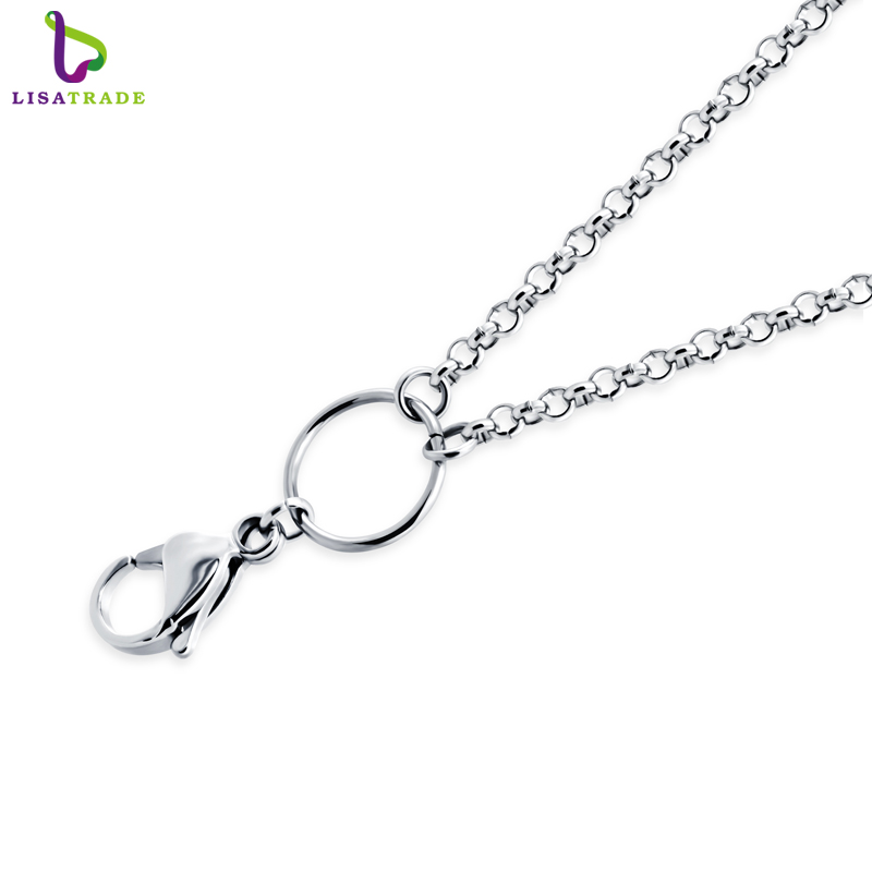 26/30 inch Silver 316 Stainless steel chain necklace, rolo chain for floating locket pendant necklace High quality LSCH03-1(China (Mainland))