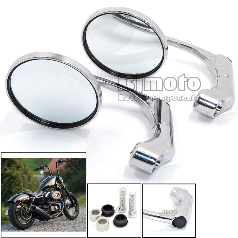 RM-070-CR Motorcycle CNC Aluminum Chrome Rear Side Round Mirror Handle Bar End Mirrors with M10 adapter For Harley(China (Mainland))