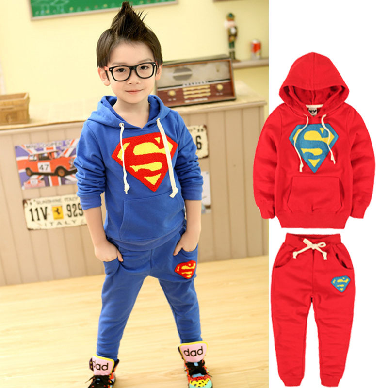 2015 New Children Clothing Set 1Pc Hooded Pullover+1Pc Pants Boy Superman Clothes Hoodies Boy Suit Roupas Menino(China (Mainland))
