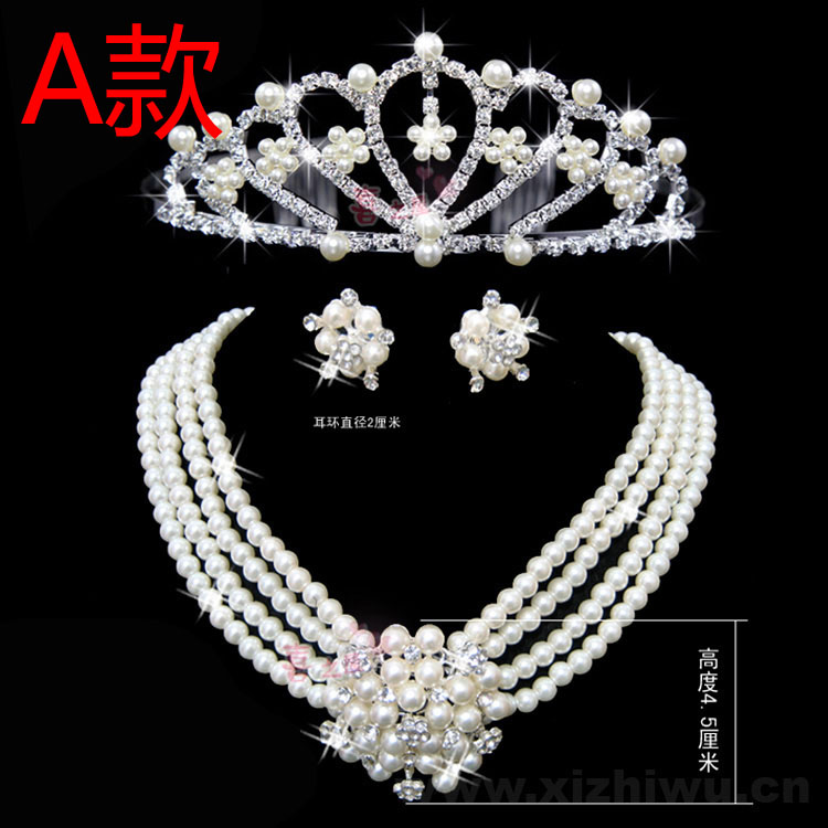free shipping bride necklace set hair accessory wedding jewellery wedding dress accessories pearl three pieces set(China (Mainland))