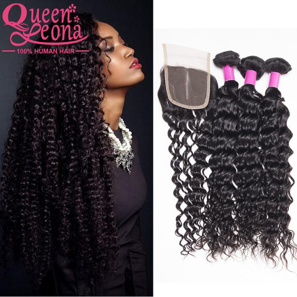 Здесь можно купить  7a Brazilian Deep Wave With Closure 4 Pcs Queens Human Hair Extensions With Closure Brazilian Virgin Hair Deep Wavy With Closure  Волосы и аксессуары