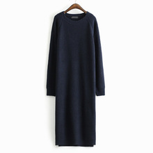 2015 Fashion New Women Knitted Long Sleeve Knee-Length Dress Casual Loose Sweater Dress Solid Straight Autumn Dress(China (Mainland))