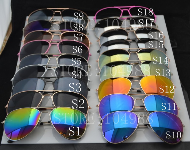 Wholesale Hot Sale WOMEN MIRROR Sunglasses MIRRORED SUNGLASSES SHADES 18 Colors FREE SHIPPING LOW PRICE