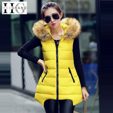 Colete Feminino 2015 Winter Coats Fur Collar Casual 6 Colors Zipper Long Hooded Vest Women Outerwear WWV180(China (Mainland))