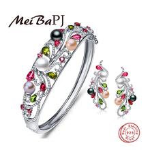[MeiBaPJ] роскошные стерлингового серебра 925 красочные украшения из жемчуга, браслет и серьги с подарочной коробке свадебные украшения хороший подарок(China (Mainland))