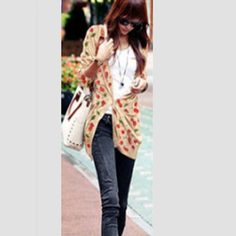 2015 autumn women Fashion medium-long cherry pattern print V-neck long-sleeve cardigan sweater shirt slim female sweater(China (Mainland))