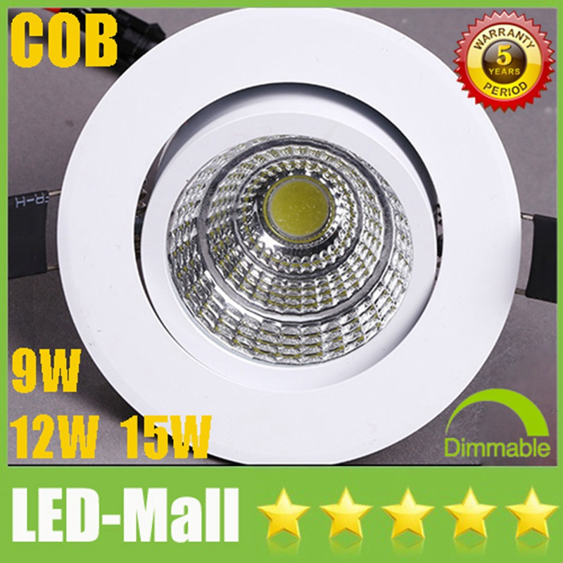 Hot Sale CREE 9W 12W 15W COB LED Downlights Tiltable Fixture Recessed Ceiling Down Lights Lamps Warm Cool Natural white 4500K(China (Mainland))