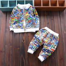 Newborn Sets Baby Boys Girls cartoon cat clothing set Children Outwear Jackets With Zipper + Pants 2pcs Sports Suit Kids Outfits(China (Mainland))