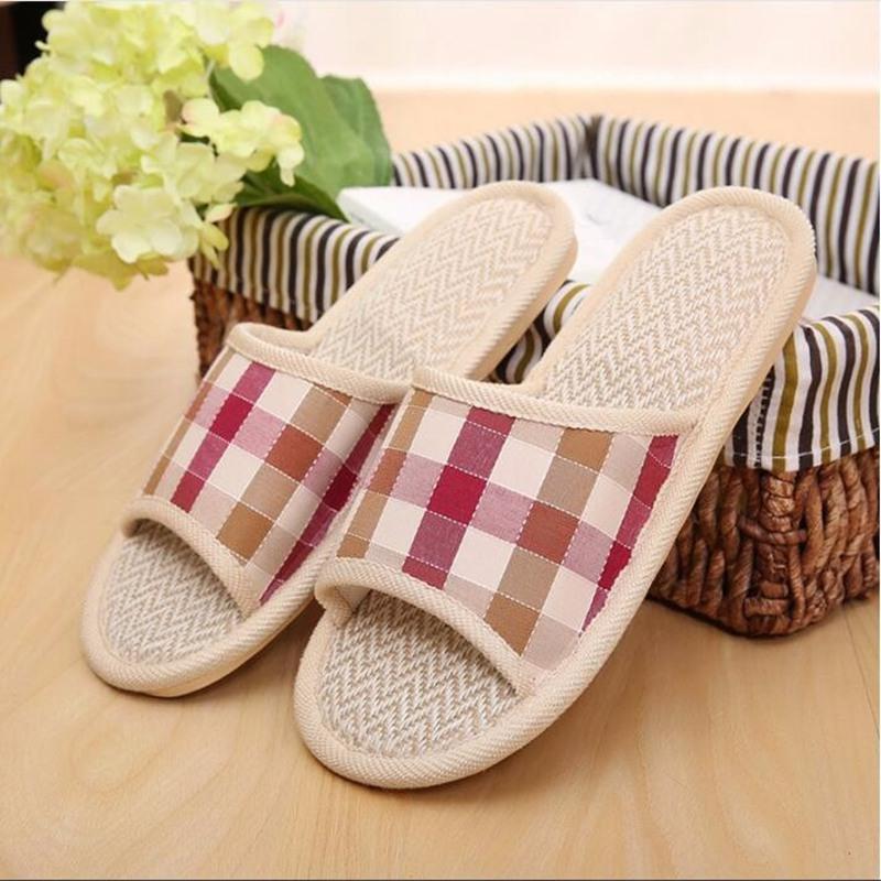 Fashion Design font b Tartan b font Lovers Sandals Summer Indoor Slippers Flat Cany Mat Linen