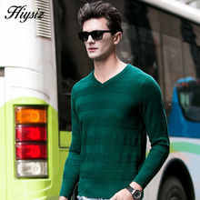 HS High Quality Soft Warm Knitted Merino Woolen Sweater Men 100% Pure Cashmere Sweaters Fashion Striped V-Neck Pullover Men 6307(China (Mainland))