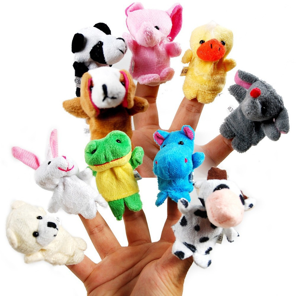 10 pcs/lot Baby Plush Toys Cartoon Happy Family Fun Animal Finger Hand Puppet Kids learning & education Toys Gifts Wholesale(China (Mainland))