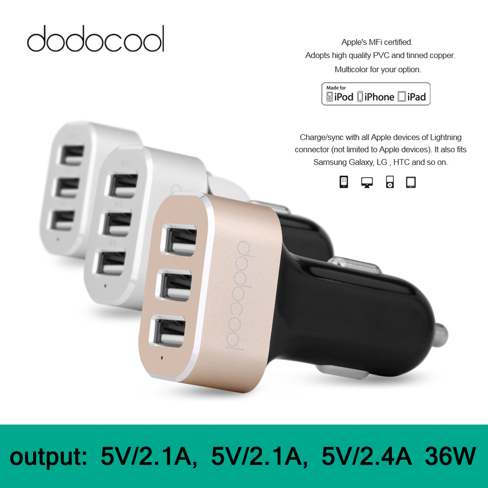 Dodocool Micro USB Car Charger 3 Ports Cargador Movil Universal MFi Certified 3-Port IC Cargador Usb for iPhone Samsung(China (Mainland))