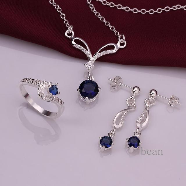 Ювелирные изделия Ювелирные Изделия Устанавливает Стерлингового Серебра 925 Ожерелье ...