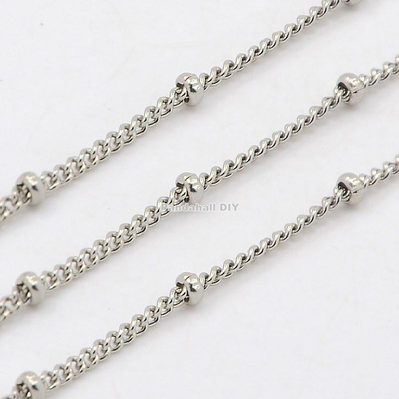 316 Stainless Steel Twisted Chains Curb Chain, Decorative Chain, with Rondelle Beads, Stainless Steel Color, 2mm(China (Mainland))