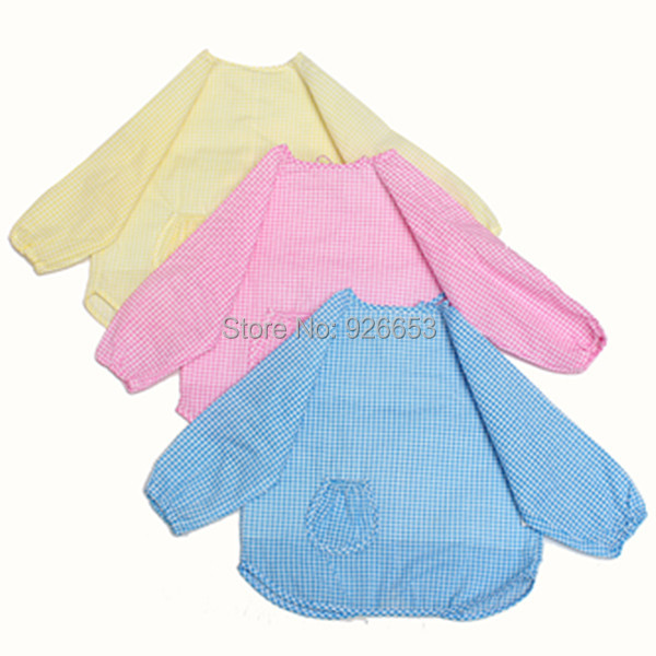 New Waterproof Long Sleeve Baby Toddler Bib Kids Feeding Art Smock Apron Free Shipping(China (Mainland))