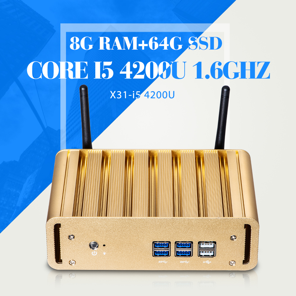 No Noise Less Heat! Mini computer I5 4200U 8GB RAM 64G SSD+WIFI Network Computer Thin Client Support WIN7/8/10 Opeating System(China (Mainland))