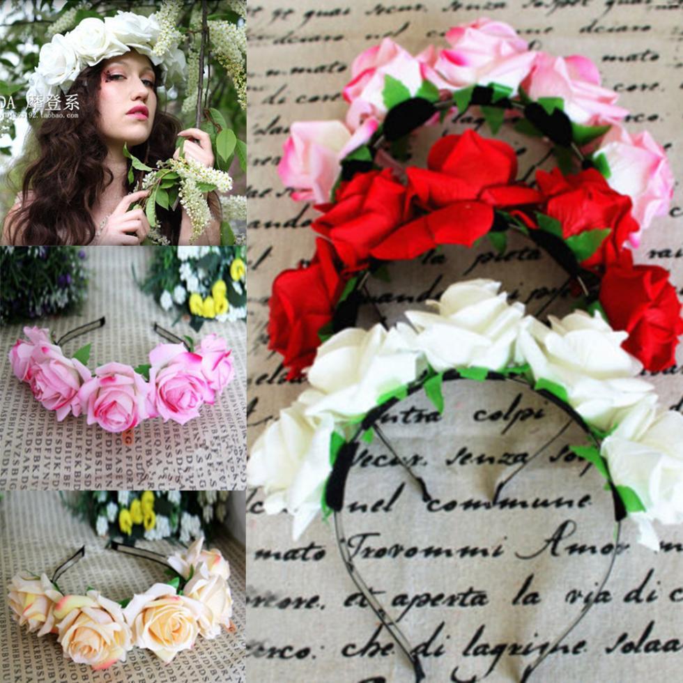 Rose Floral Flower Garland Crown Headband Hair Band Bridal Festival Holiday Headwear(China (Mainland))