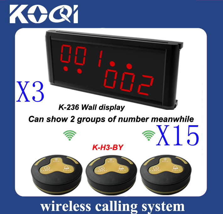 a set Restaurant Wireless Call System of 15 pcs H3-BY table bell and 3 K-236 receiver(China (Mainland))